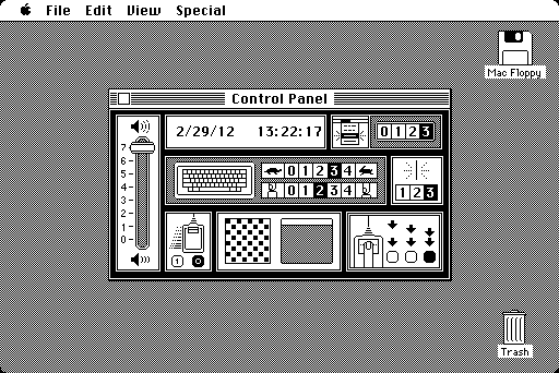 Susan Kare's original Control Panel design, includes basic time setting