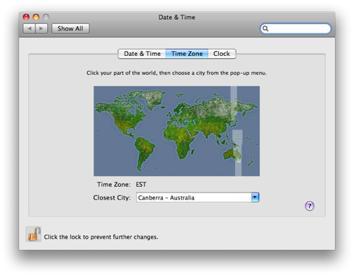 OS X Leopard's clickable timezone map