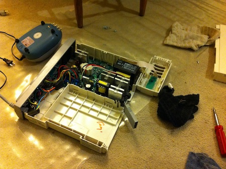 Battery backup taken apart to dry