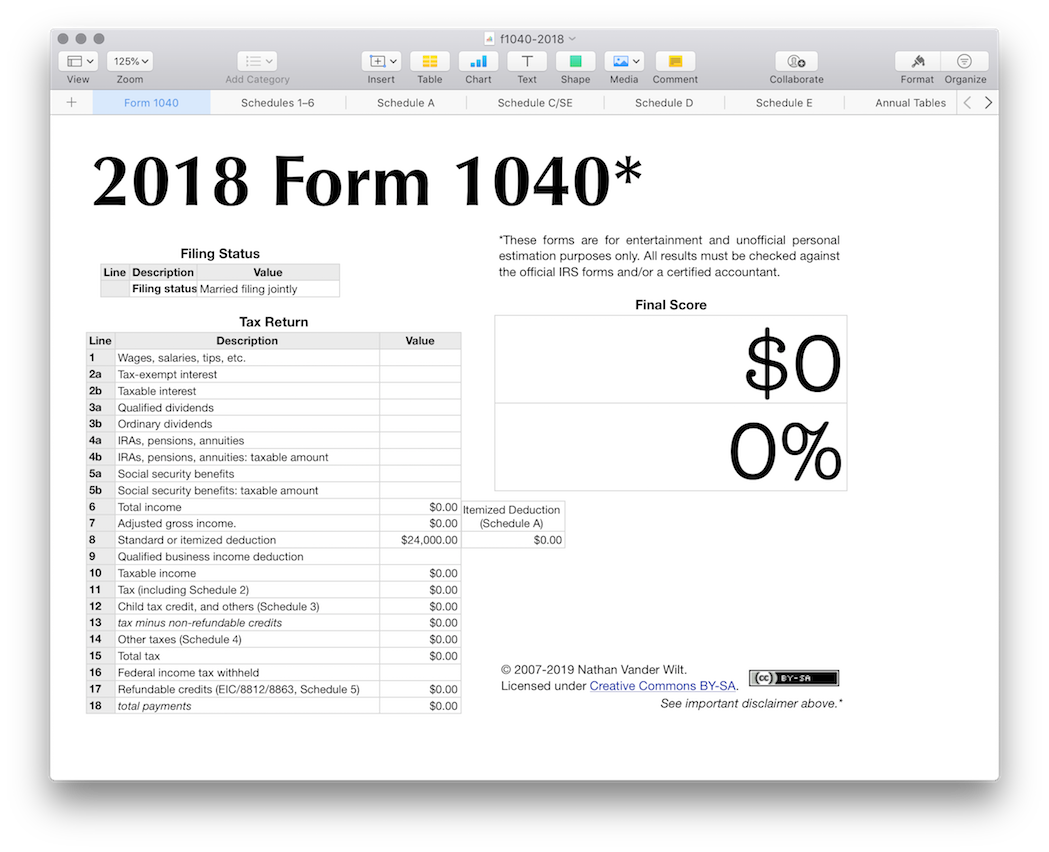 Numbers app spreadsheet template for 2018 IRS Form 1040 - a