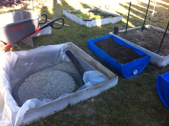 Wicking bed in progress, perforated drainage and pea gravel providing structure in builder's plastic water reservoir
