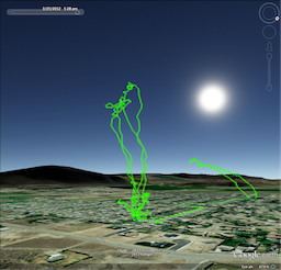 Flight tracks in virtual globe software