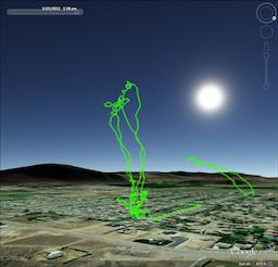Flight tracks in virtual globe software