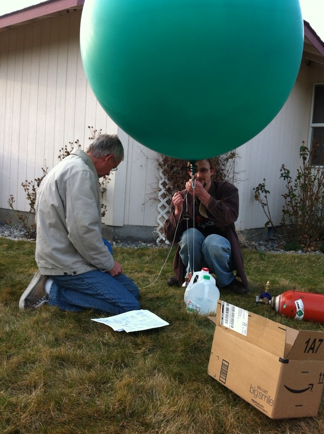 Getting the balloon set for its first flight, with my father-in-law