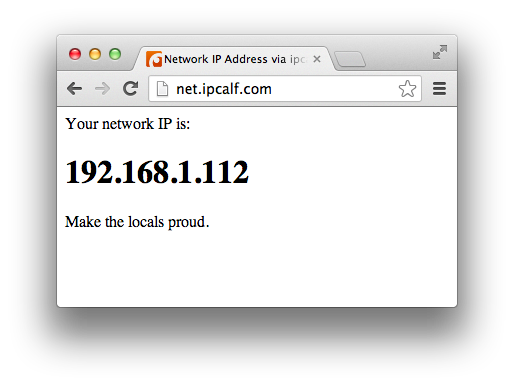 Local IP address being displayed by net.ipcalf.com