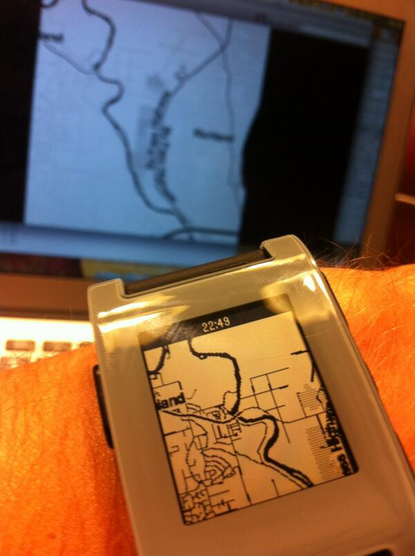 wristmap showing a B&W map of Richland on the Pebble wristwatch