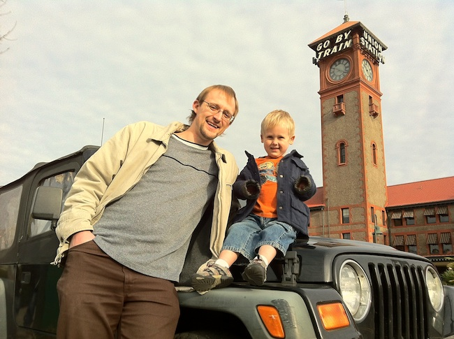 Nate and Toby in front of Portland's Union Station, photo by Ward Cunningham