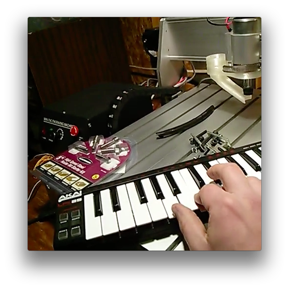 MIDI keyboard connected to CNC router